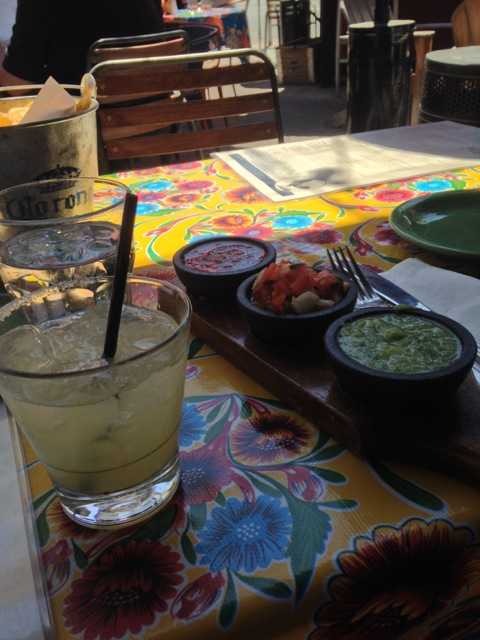 Margarita and chips/salsas at Milagros in Redwood City CA