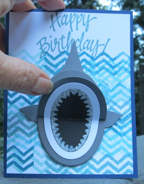 "awesome austin's ""shark"" birthday card  stamping with blythe, Birthday card"