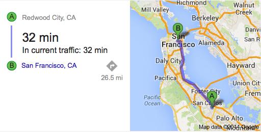 map- Redwood City to San Francisco CA