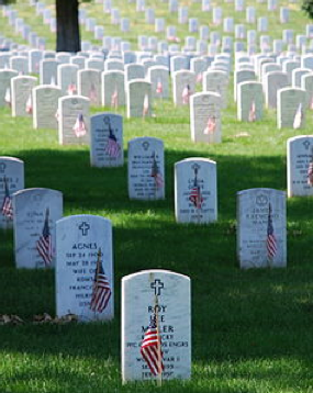 Arlington National Cemetery on Memorial Day, decorated with American Flags