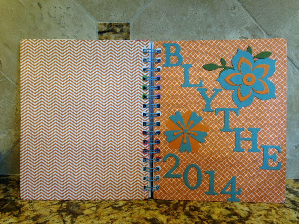 Front and Back of Blythe's notebook