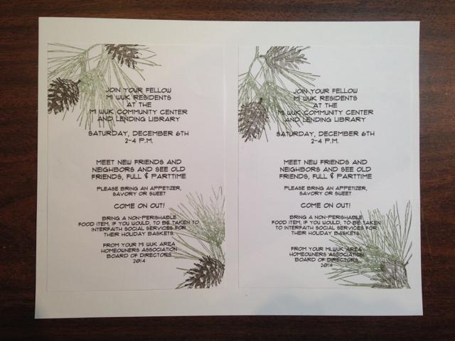 Hand-stamped MAHA invite