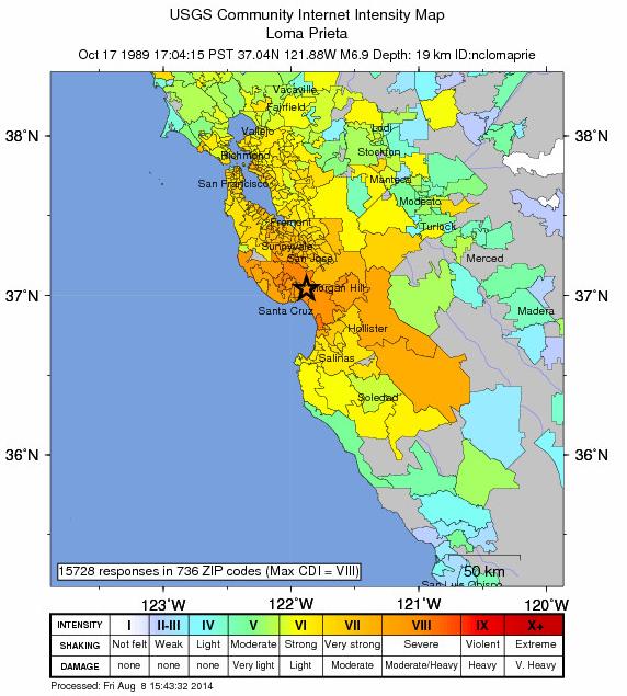 Map of Loma Prieta Earthquake Oct 17, 1989