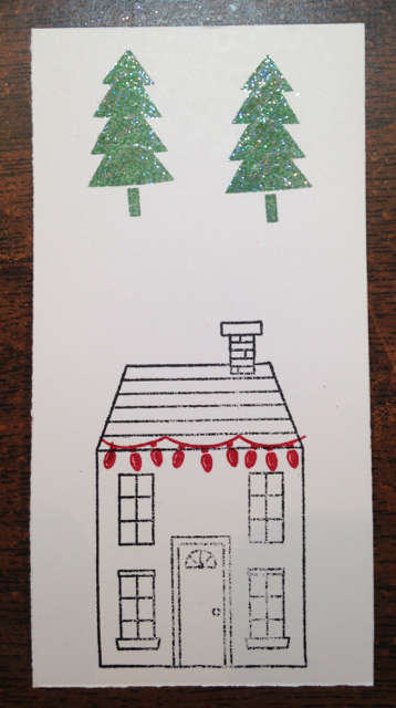 Stamp house and trees on scrap paper