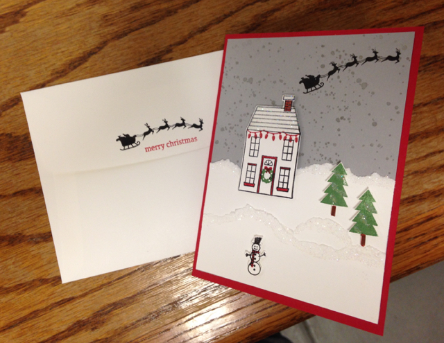 Stamped envelope and finished card