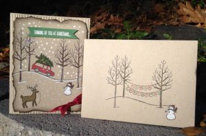 White Christmas card and coordinating envelope