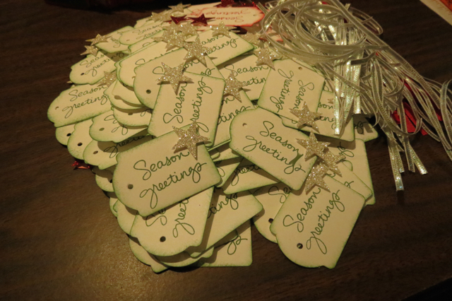 Christy's tags pile