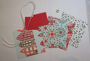 Star component pieces: Designer Series Paper, ribbon, button