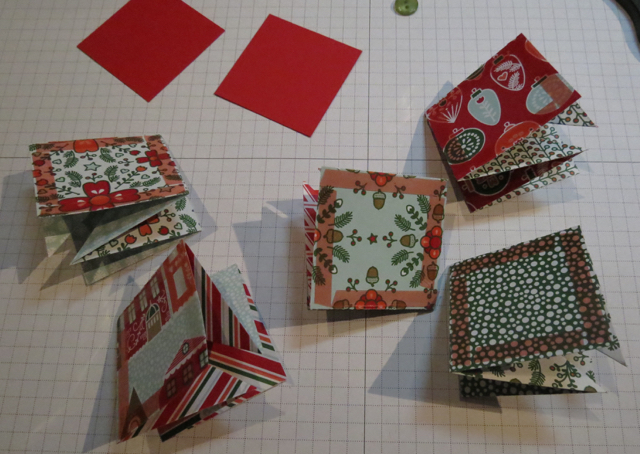 Folded star pieces with Red Sticky Tape on all four edges