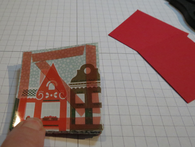 Place a diagonal piece of Red Sticky Tape on the diagonal of each of the 'end' pieces of the stack