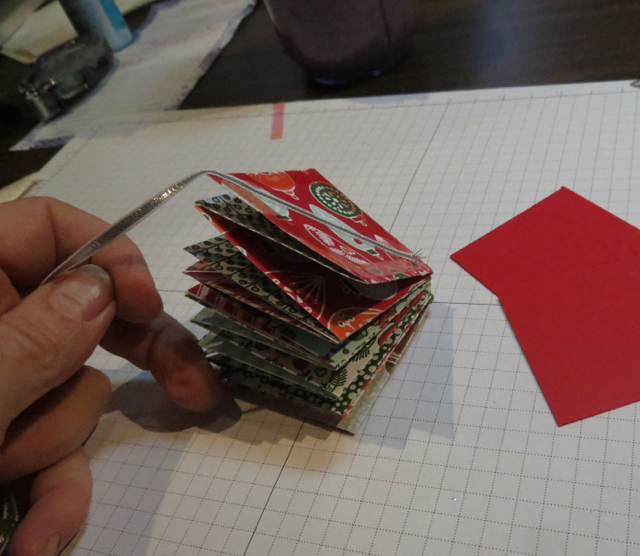 Remove protective cover from sticky tape and attach coordinating card stock piece