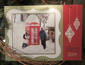 """2004 2004 'kitchen' tree card 2004 closed My husband, Russ, 'manufactured' a jig for perfect placement of the window panes which utilized Stampin' Up!'s 1-1/4"""" square punch. The tree 'lives' outside of our kitchen window. It's probably grown 4-5 feet since this card photo and now interferes with our clothes line. It was destined to be cut down this year and brought inside but.........kitties have given it a reprieve! 2004 'kitchen' tree 2 open 2005 2005 snowy trees almost closed This card has an odd fold, landscape position, top fold about 1-1/2"""" and bottom fold 3-1/2"""". Then a 3"""" x 4"""" stamped piece was added to the top flap and lifted to view the inside. 2005 snowy trees open 200? 2008 2008 reindeer card I do believe this card was inspired by in infamous Jackie Topa, Queen of Punches! We got a LOT of positive comments on it! 2009 2009 snow scene embossed card"""