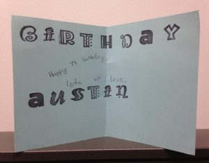 inside of Austin's hand stamped card
