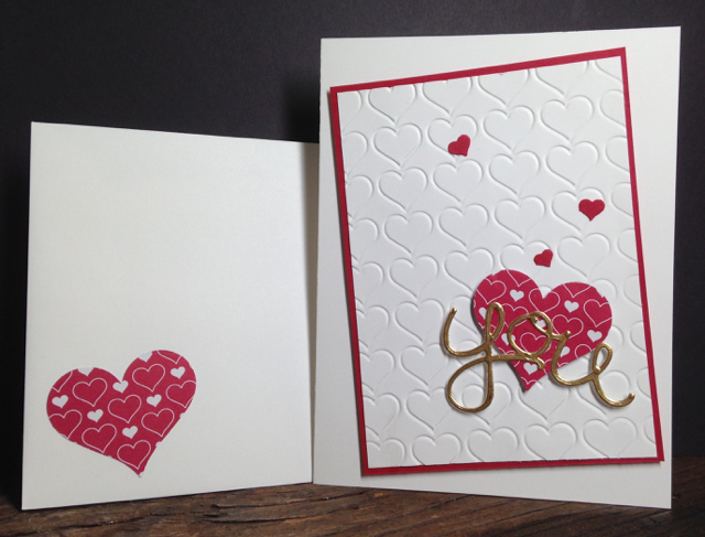 Love isHappy Heart Textured Embossing Folder Valentine card