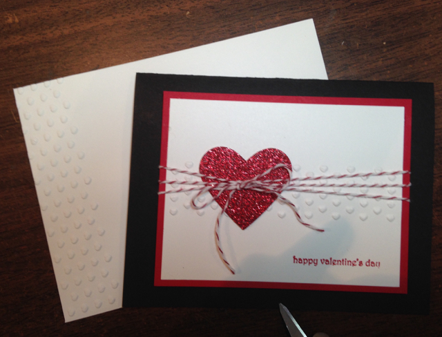 Simple red and white Valentine card