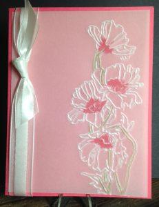Strawberry Slush + Vellum + Flower Garden Textured Impressions Embossing Folder