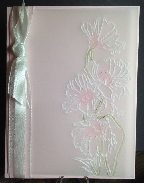 Pink Pirouette + Vellum + Flower Garden Textured Impressions Embossing Folder