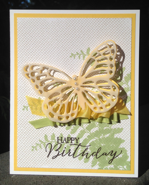 Butterfly Basic stamp set birthday card using vellum