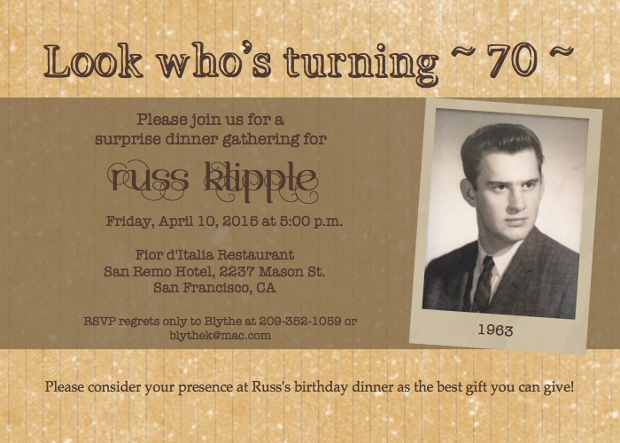 Russ's 50th birthday invitation via My Digital Studio