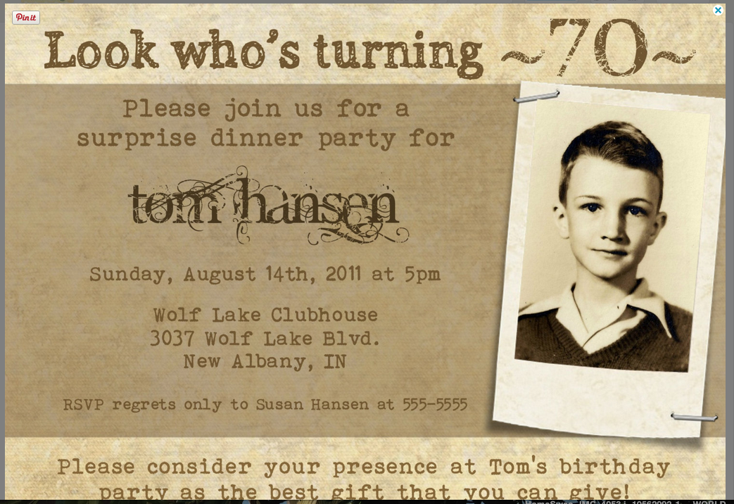 Etsy 70th birthday invite