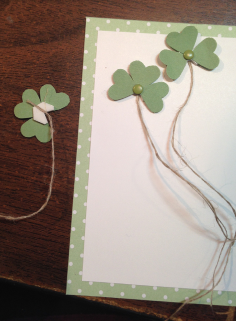 Stampin Dimensional holds the shamrock hearts