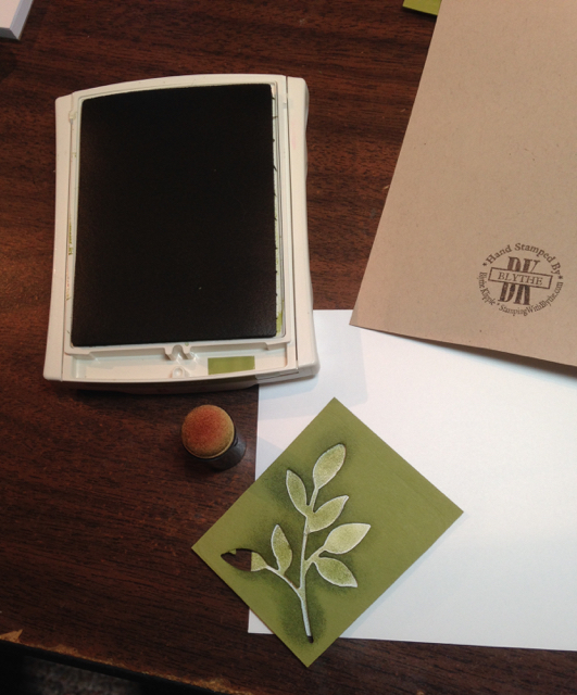 Sponged leaves on envelope