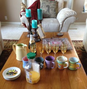 Mimosas and scones at Hello Life Simply Created Kit class