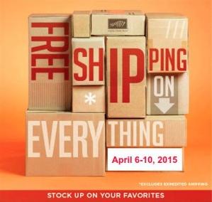 Free Shipping, April 6-10, 2015