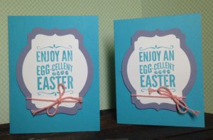 Their finished EGG-cellent card fronts