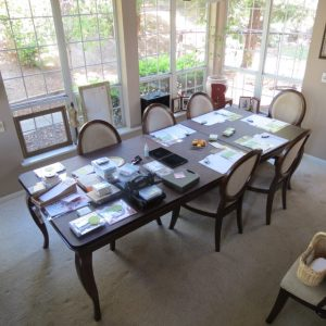 View of the 'work table' before a stamp class