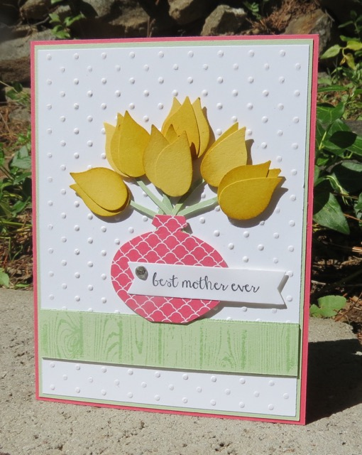 Mother's Day card / punched vase of flowers