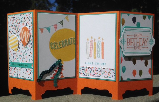 Andrea's birthday card, Balloon Bash (137144) and Birthday Bash Specialty DSP (137783)