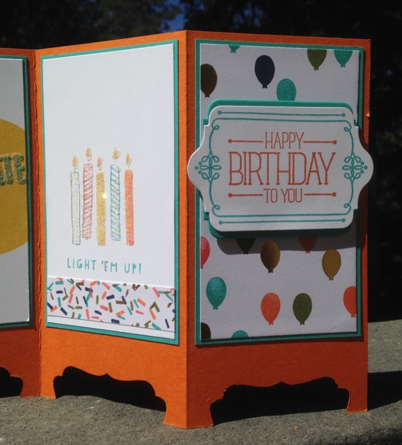 Andrea's birthday card, Balloon Bash (137144) and Birthday Bash Specialty DSP (137783)