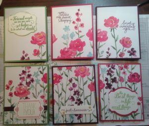 Sextet of Painted Blooms Designer Series Paper cards
