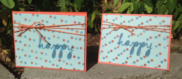Two finished cards, two methods of drying twine, one card finished with bling