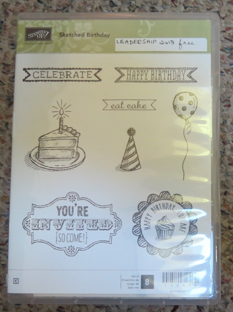 Sketched Birthday, Wood Mount, set of 8 stamps, retired 2015