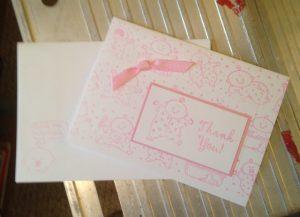 Baby girl thank you card circa 2000