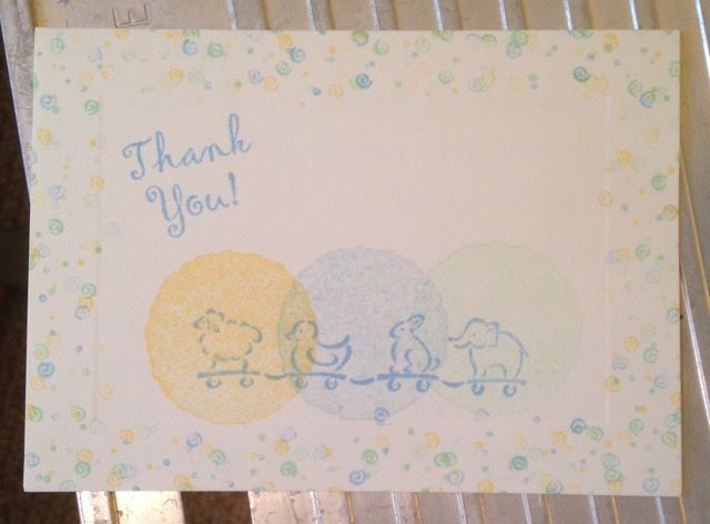 Baby shower thank you card, 2002