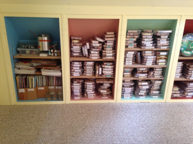 Rubber stamp storage in My Country Loft stampin studio