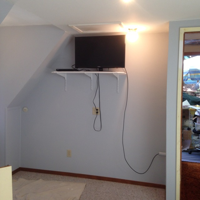 TV shelf in place