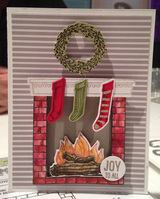 Festive Fireplace stamp set and framelits dies