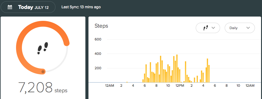 Fitbit report for July 12, 2015