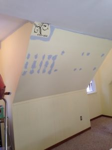 Cutting in ceiling and outlining the 'create' décor