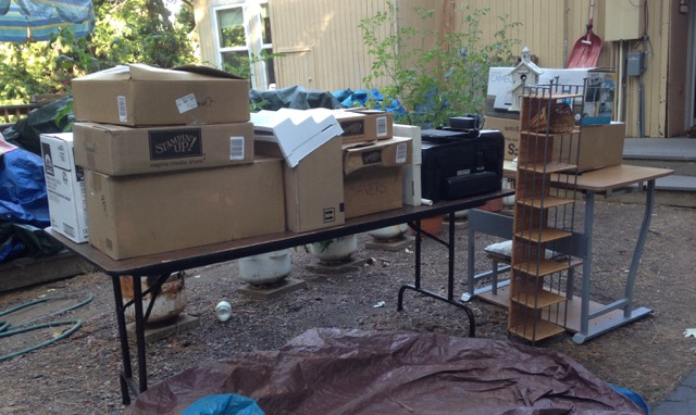 Donations to local thrift shops from Blythe's stampin' studio renovation