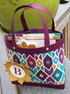 """Gift bag/purse filled with three 4"""" x 4"""" gift cards"""