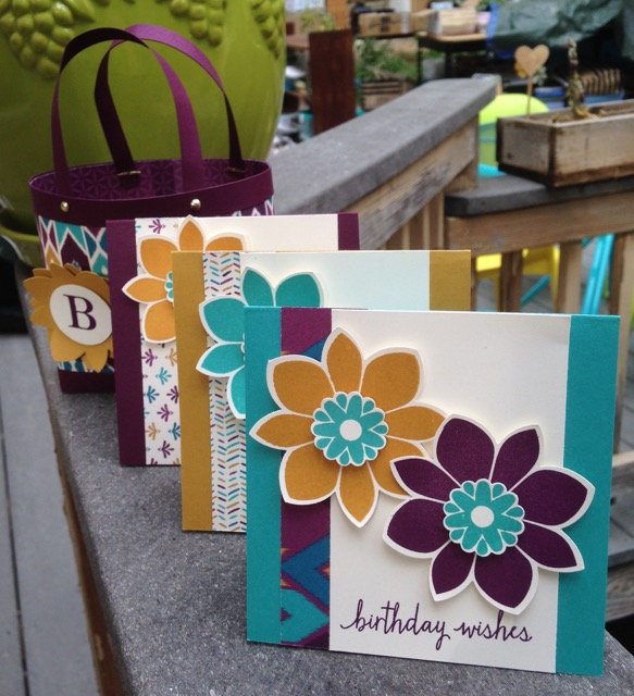 3 gift cards to coordinate with Bohemian Designer Series Paper from Stampin' Up!