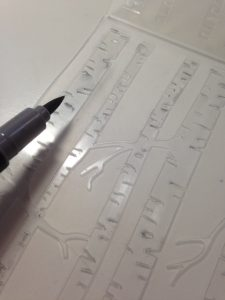 Adding color to the embossing folder