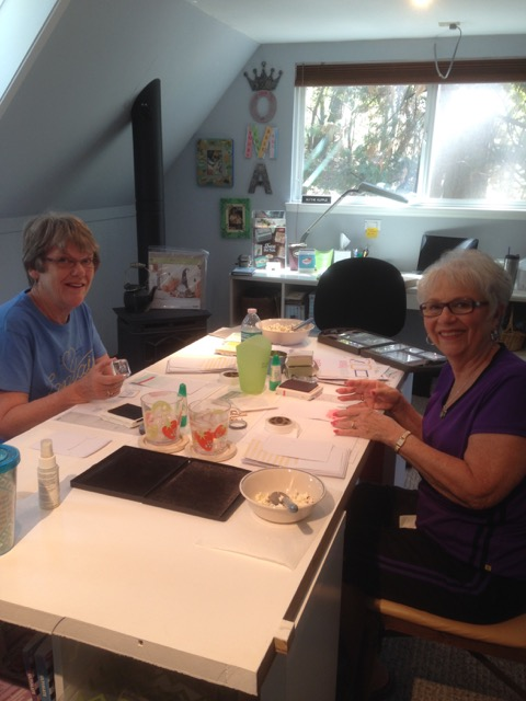 Sue and Sharon happily making their cards