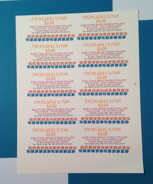 sheet of ten tickets for Mi Wuk Sugar Pine Enchilada Sale