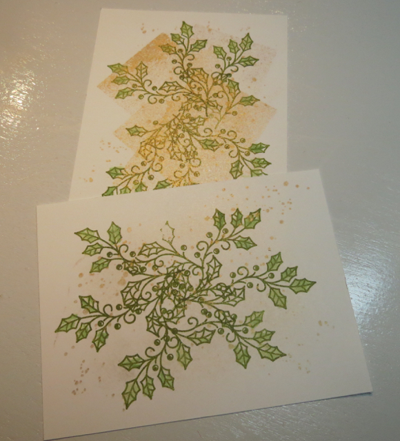 Background stamped with Gold encore Ink, then holly leaves added